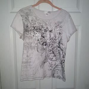 Dressbarn T-shirt - Petite Extra Large - White